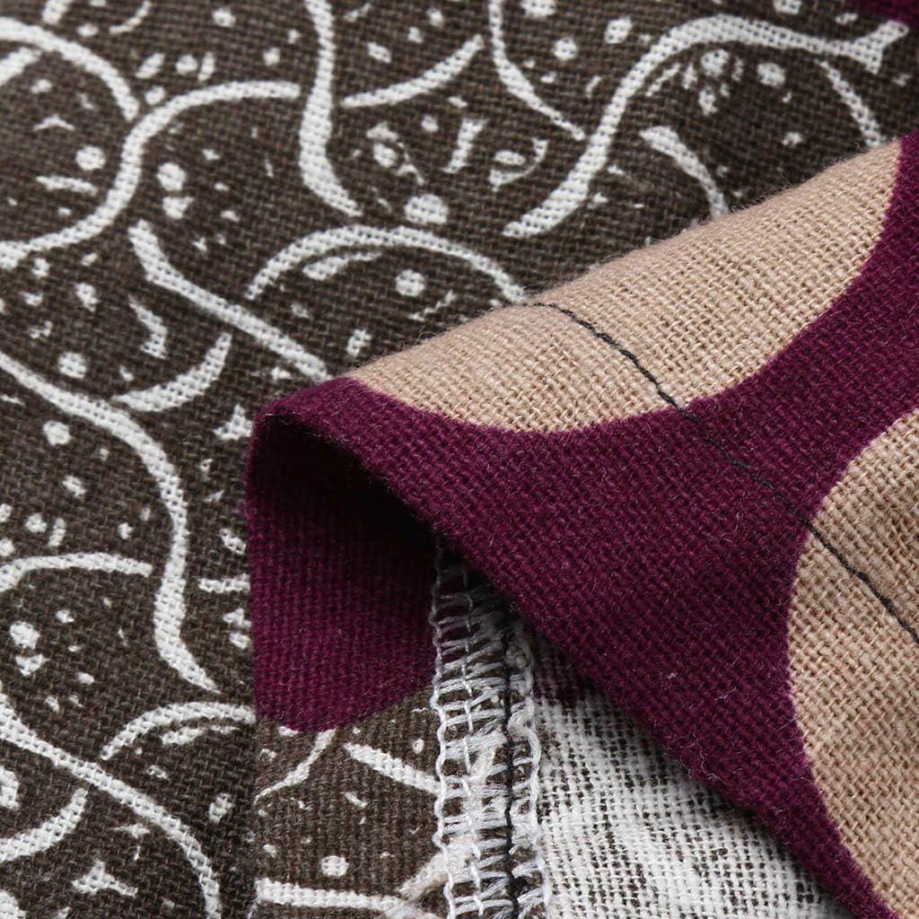 Jentouzz Womens Vintage Print Bohe Loose Bib Plus Size Pants Cotton Linen Overalls Jumpsuit