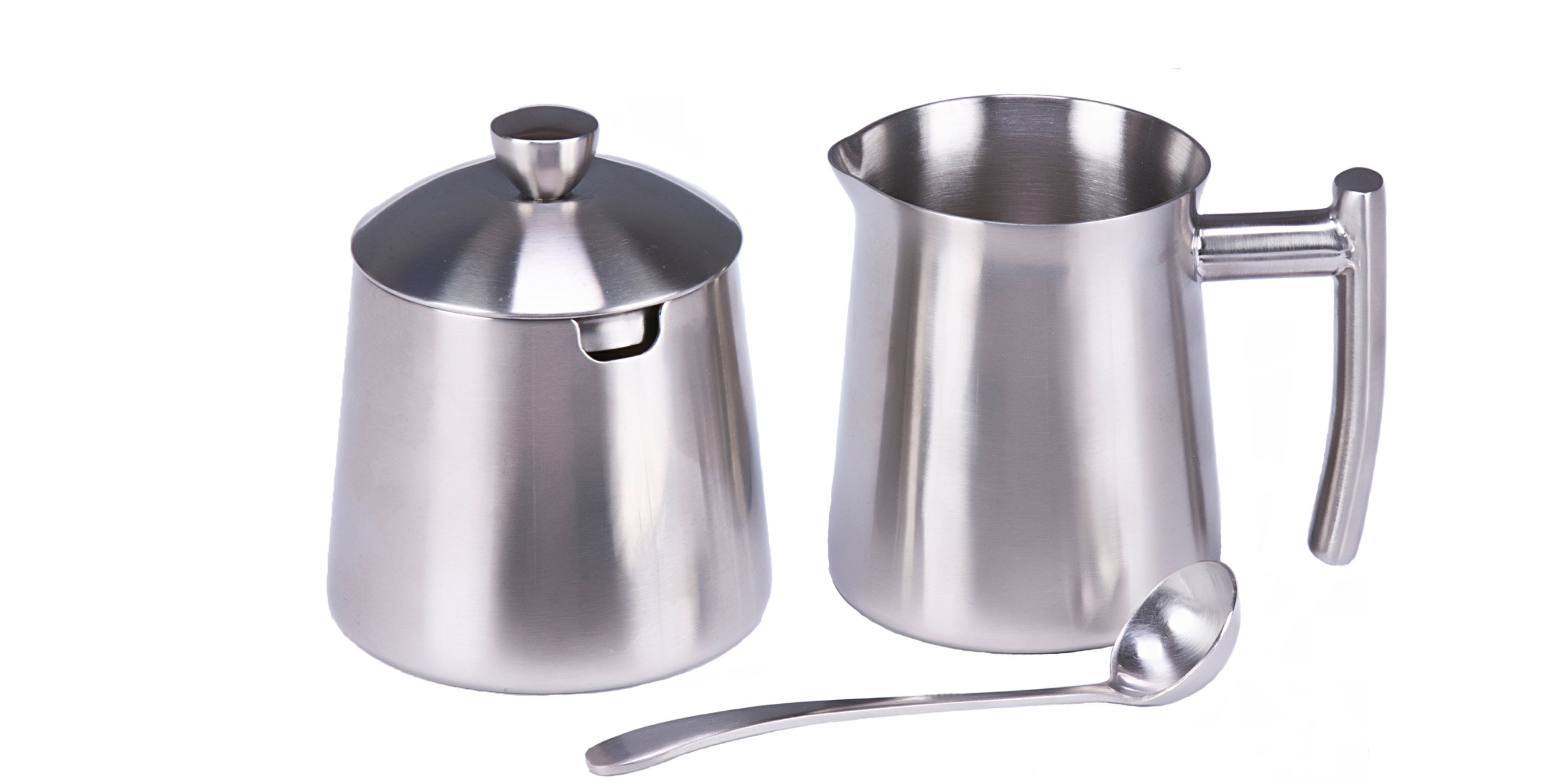 Frieling Brushed Stainless Steel Creamer & Sugar Bowl with Spoon Set