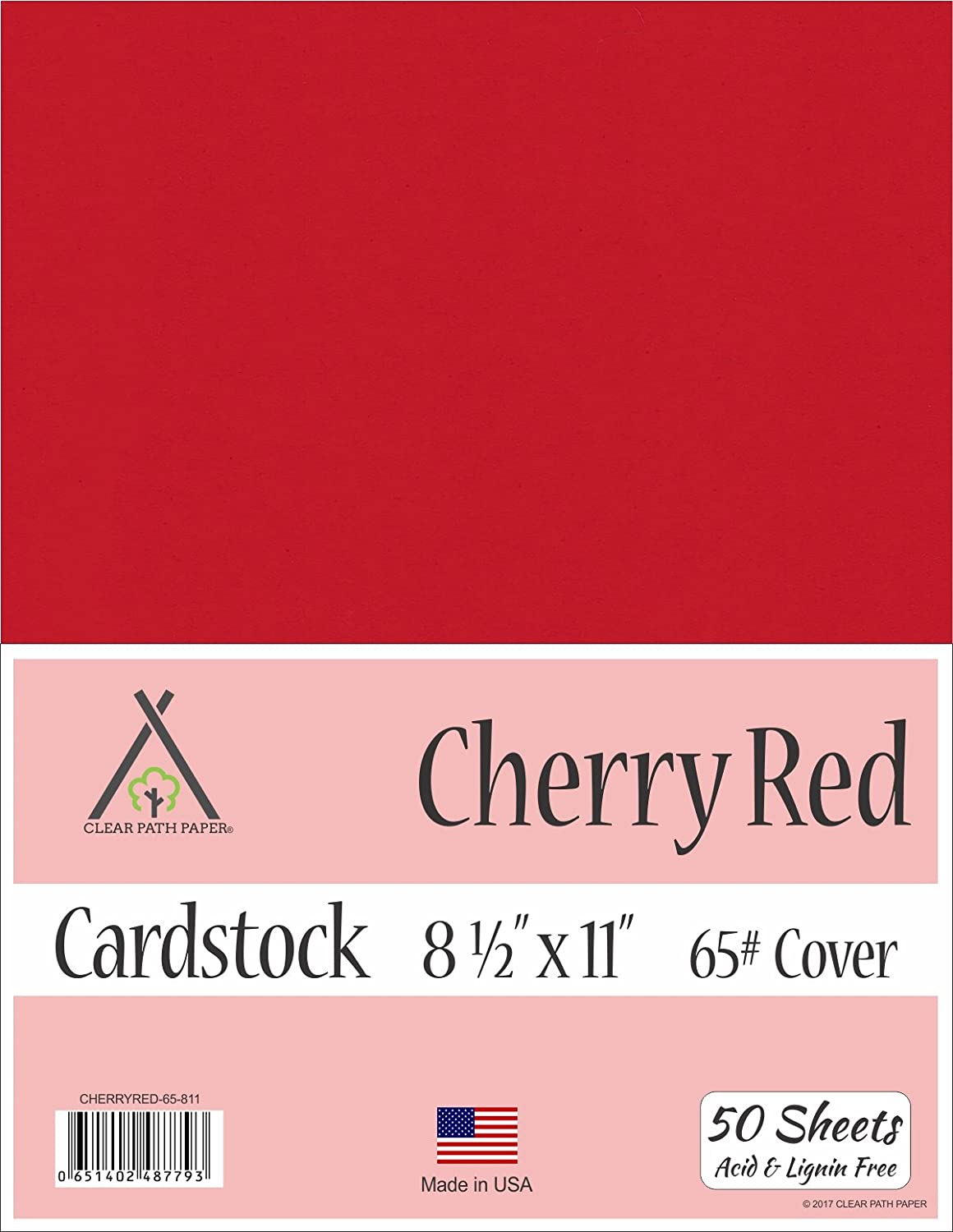 Cherry Red Cardstock - 8.5 x 11 inch - 65Lb Cover - 50 Sheets Clear Path Paper 4336867736