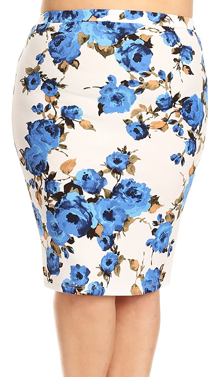BNY Corner Women Plus Size Trendy Floral Pattern Pencil Skirt Elastic Waistband