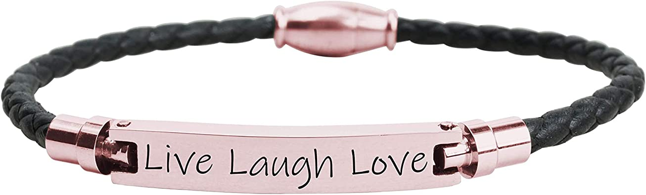 Live Laugh Love Live Laugh Love Pink Box Genuine Inspirationa Leather Bracelet