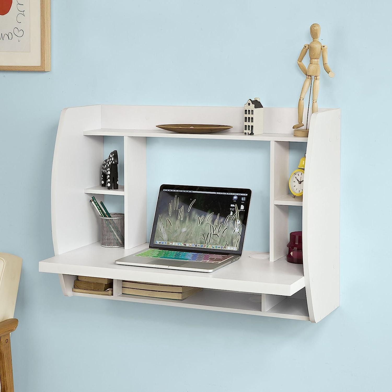 Haotian FWT18-W, White Drop-Leaf Table Desk, Wood Children Table