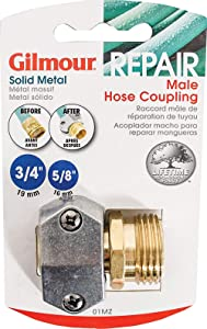 5 Pack - Gilmour Heavy Duty Brass and Metal Male Hose Repair Clamp Coupling - Barbed Mender for Garden Hoses - 01MZ