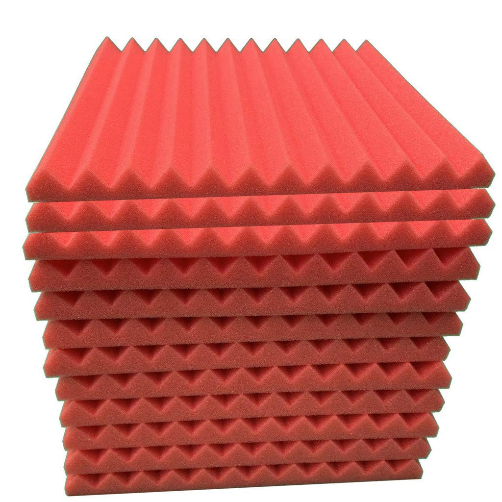 HJuyYuah 12Pcs Acoustic Foam Panel Sound Stop Absorption Sponge Studio KTV Soundproof Red by HJuyYuah