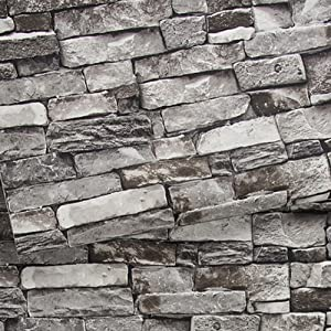 Brick Wallpaper, 3D Stone Textured, Removable and Waterproof for Home Design,Livingroom, Bedroom, Kitchen and Bathroom Decoration 20.8In x 32.8Ft, Gray/Black