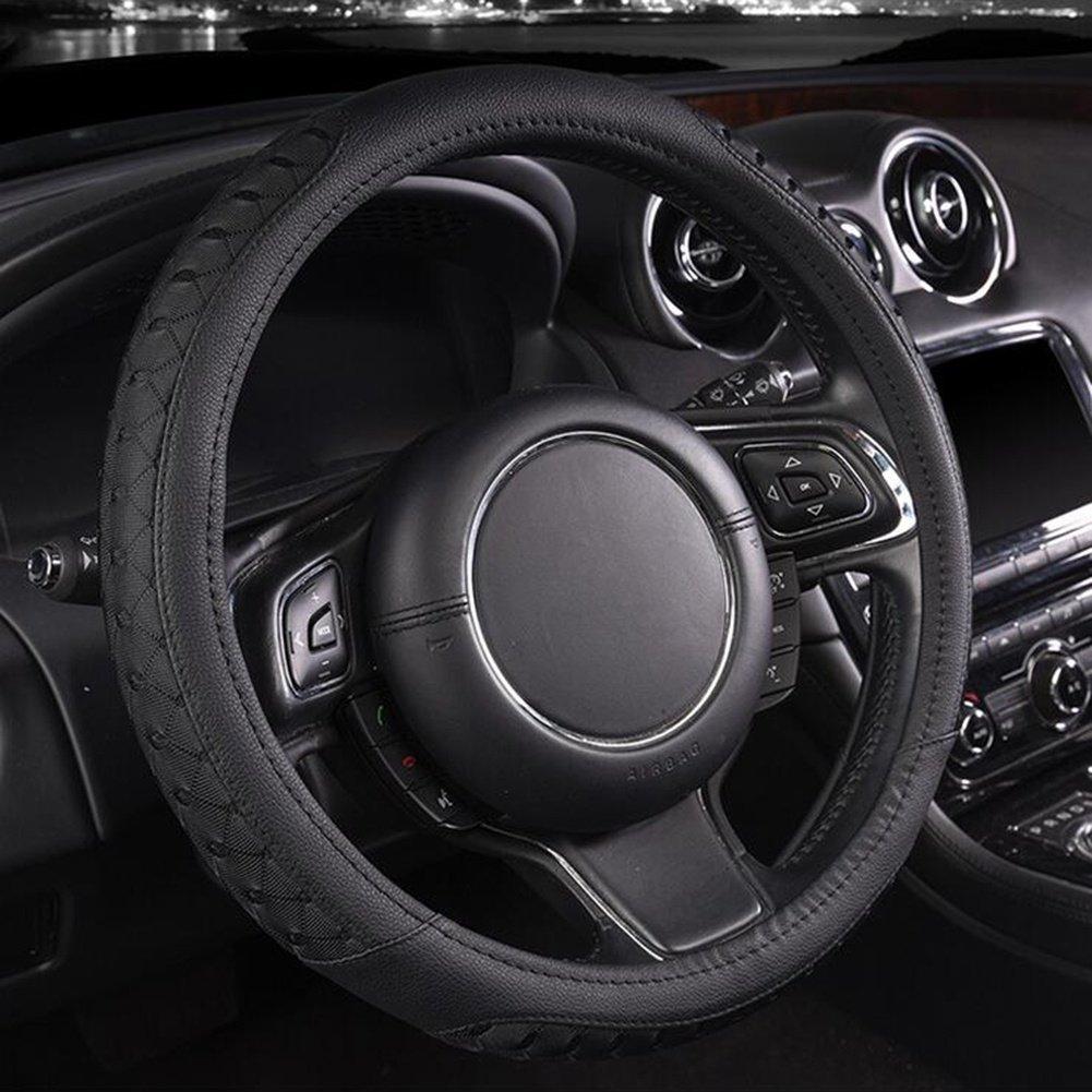 Auto Accessories Car Steering Wheel Cover Ice Silk Sports Anti-Slip Four Seasons Universal, Black, 38cm