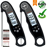 Meat Thermometer 2 PACK-Best Digital Instant Read Food Thermometer for Cooking Kitchen,Candy,BBQ,Grill,Milk-Quick Read Waterproof Folding Probe Thermometer with Backlight and Calibration Functions