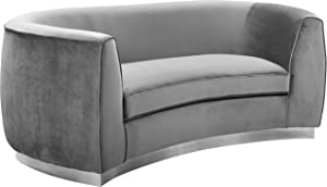 Meridian Furniture Julian Collection Modern   Contemporary Velvet Upholstered Loveseat with Stainless Steel Base in Polished Chrome Finish, Grey, 70