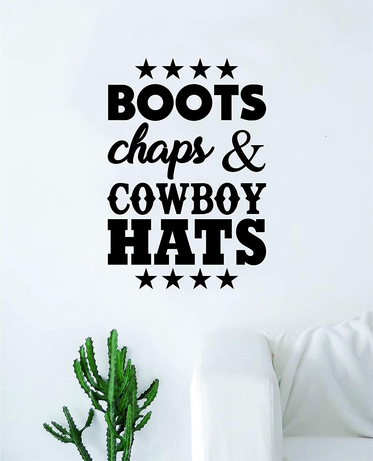 Boots Chaps and Cowboy Hats Original Wall Decal Sticker Vinyl Art Bedroom Living Room Decor Decoration Teen Quote Inspirational Kids Boy Girl Teen Country America Cowgirl Horse Rodeo Wild West