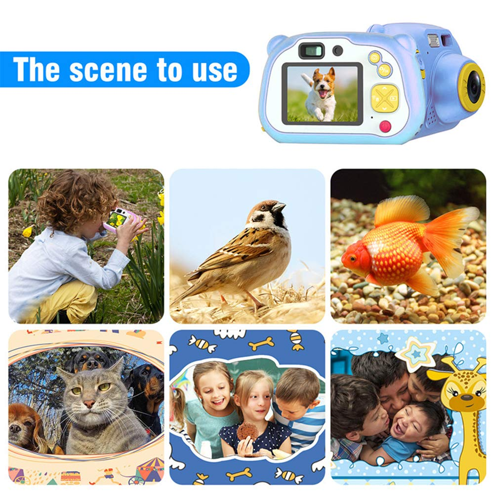 eiAmz Kids Camera, WiFi Children Digital Camera, Shockproof HD Camera, Auto Focus & with Flash Lights, Children Selfie Toy Cartoon Camera, Festival Gifts for Kid Age 3-14, Blue(Memory Card Included) by eiAmz (Image #2)