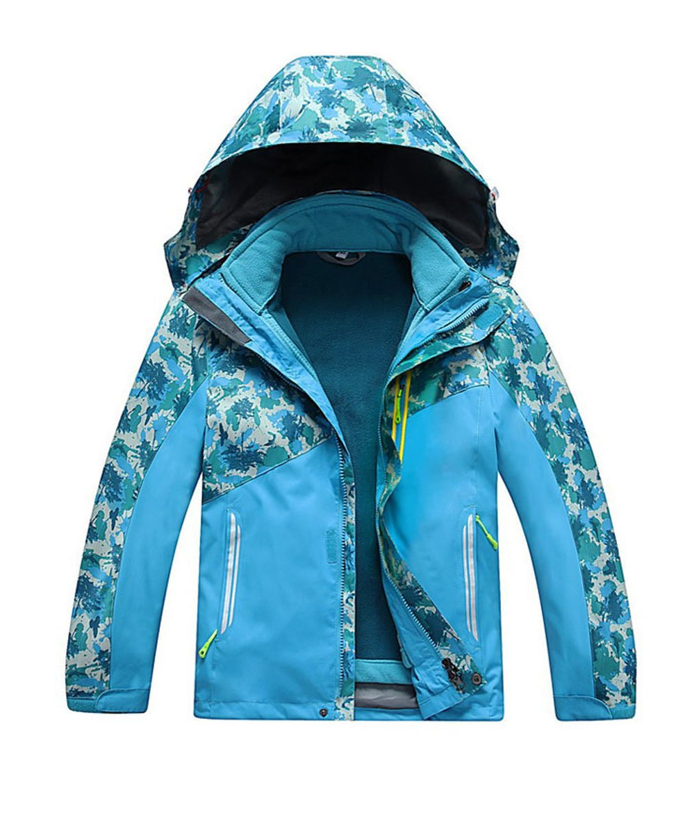 M2C Boys Hooded 3 in 1 Waterproof Fleece Mountain Jacket 7/8 Sky Blue