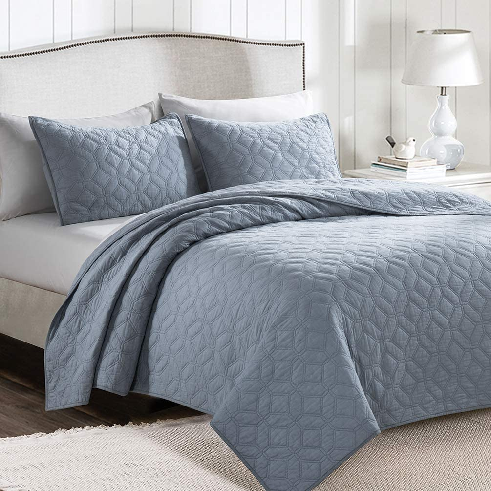 SHALALA NEW YORK Cotton Voile Quilt Set with 2 Quilted Shams - Ultra Soft Garment Washed Coverlet - Solid Geometric Bedspread - Breathable and Comfortable - Machine Washable (Light Blue, Full/Queen)