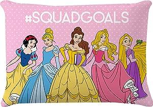 Jay Franco Disney Princess Rainbow Decorative Pillow - Kids Super Soft Dec Pillow Features Cinderella, Belle, Rapunzel - Measures 10 x 14 Inches (Official Disney Product)