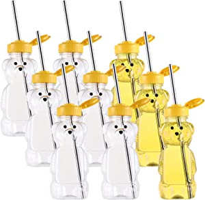 WUWEOT 9 Pack Honey Bear Straw Cups, Plastic Juice Drinking Cup with 9 Pack Long Straws, Therapy and Special Needs Assistive Drink Containers, Spill Proof and Leak Resistant Lids, 8OZ