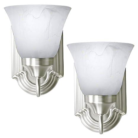 online retailer 00831 651ec 2 Pack of Bennington Luna Wall Sconce Light Fixture Single Light Vanity  Lights, Brushed Nickel