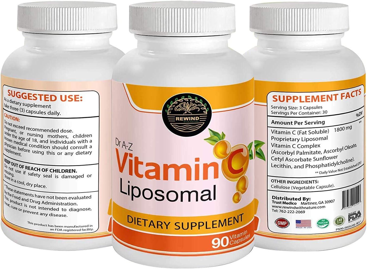 Liposomal Vitamin C Immune Defense, Support - 1800mg Supplement - Ascorbic Acid Capsules - High Absorption VIT C Pills - Boosts Immune, Collagen Health - Non-GMO, Soy Free