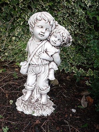 Boy U0026 Girl Piggy Back Garden Statue Great Gift 51 Cm High