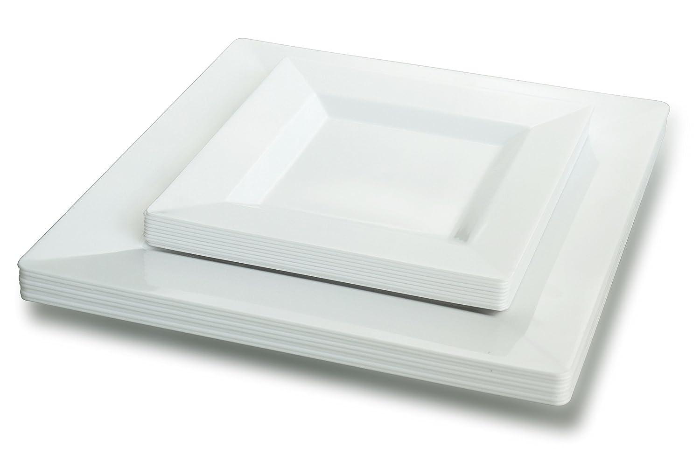 スクエアプレート – 9.5 CM + 6 cm ( 60 + 60 ) ホワイト B072FJM3CZ  Square - Plain White -