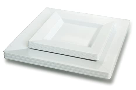 OCCASIONS 50 Pack Disposable Square Plastic Plates Set - 25 x 9.5u0027u0027 Dinner +  sc 1 st  Amazon.com & Amazon.com: OCCASIONS 50 Pack Disposable Square Plastic Plates Set ...