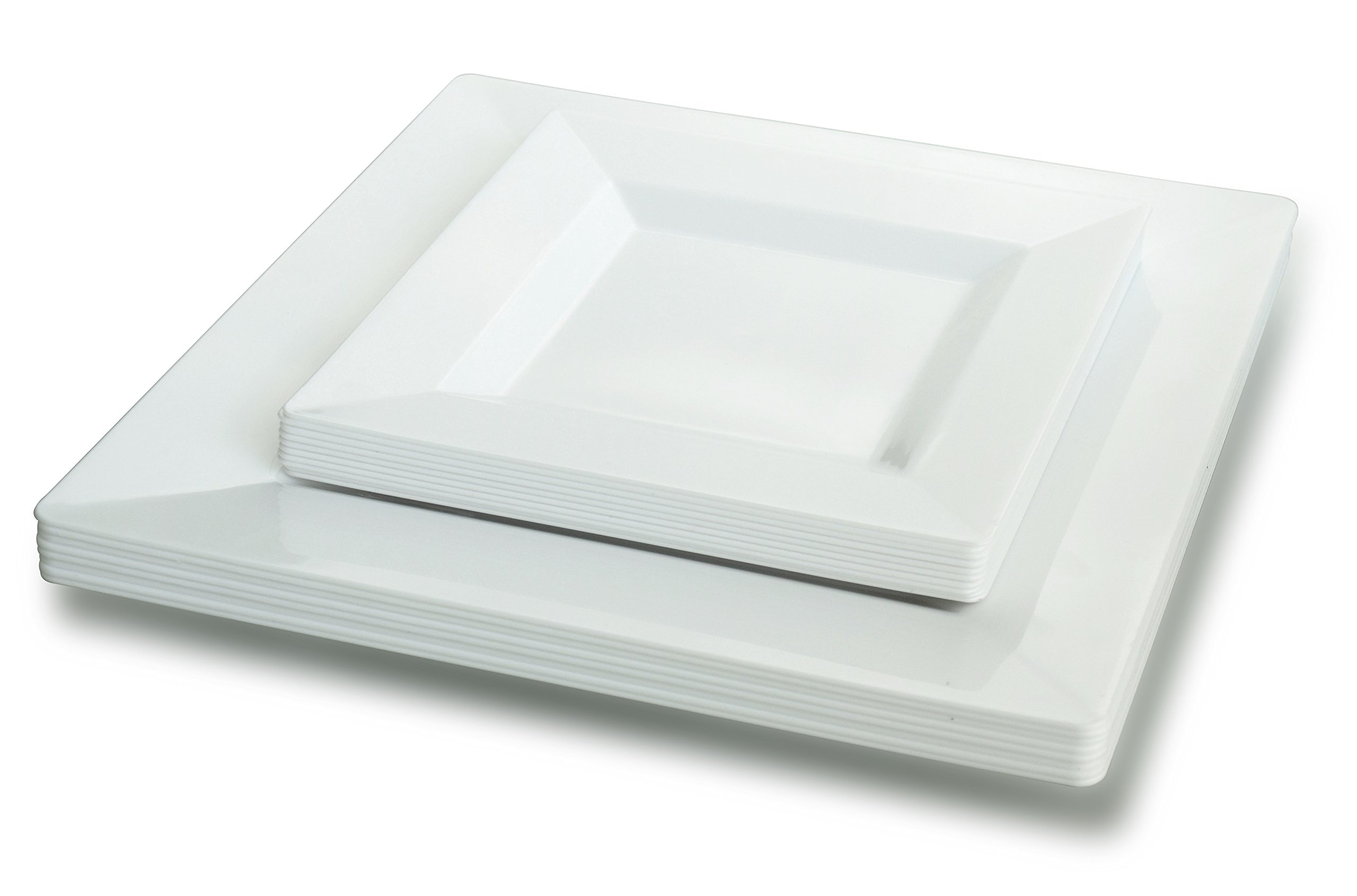 '' OCCASIONS '' 240 Pack Disposable Square Plastic Plates Set - 120 x 9.5'' Dinner + 120 x 6.5'' Dessert (Square White)…