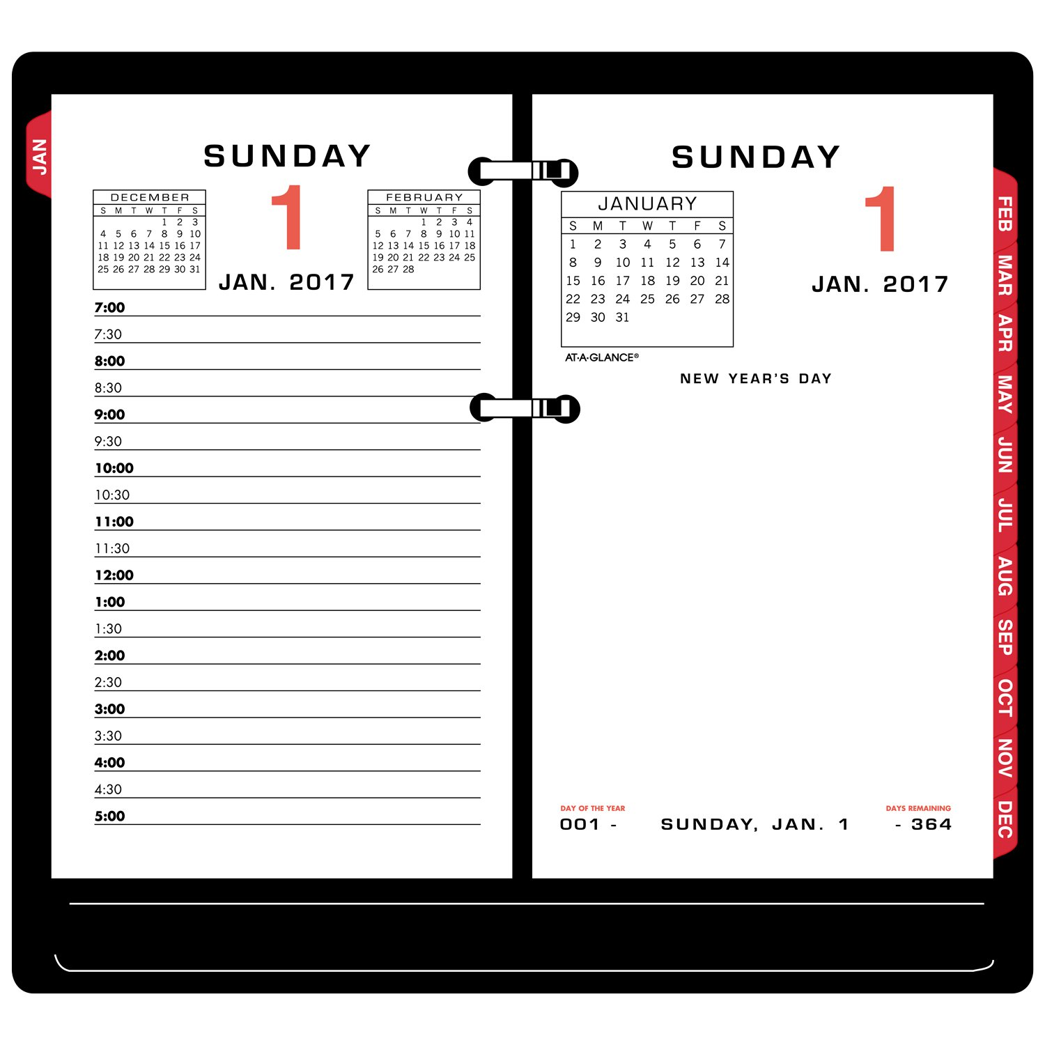 AT-A-GLANCE Daily Calendar 2017 Refill, 3-1/2 x 6'', Desk Size (E017-50) by AT-A-GLANCE