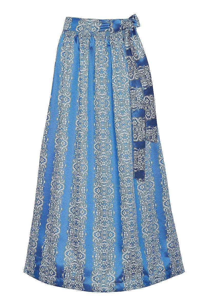 Edelheiss Damen Dirndlschürze lang blau-weiß 001254
