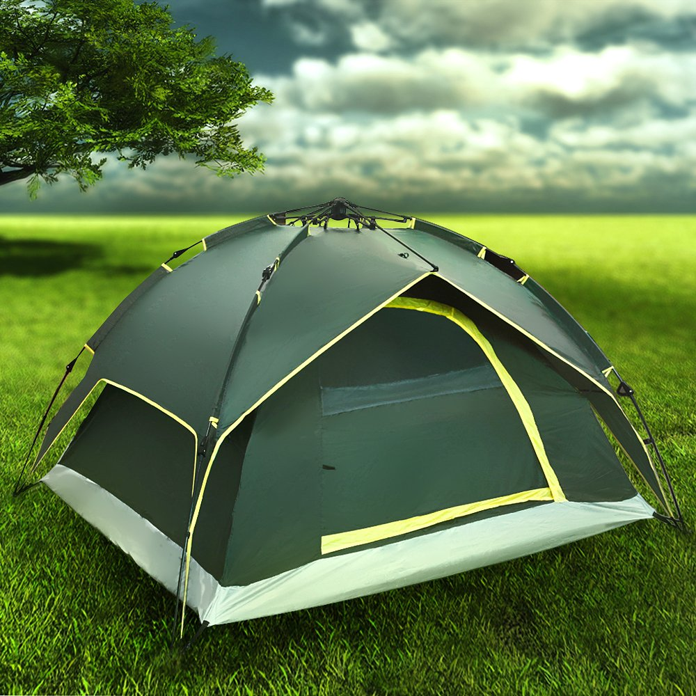Flexzion Instant Dome Tent - 2-3 Person Automatic Double Layer Waterproof for Outdoor Sports Family Camping Hiking Travel Beach with Zippered Door and Carrying Bag in Army Green by Flexzion (Image #1)