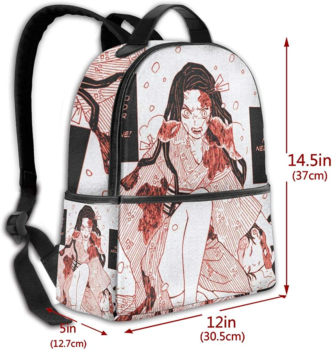 NanZYang School Backpack Nezuko Kamado Unisex Daypacks Laptop Bags Outdoor Travel Large Computer Bag Black