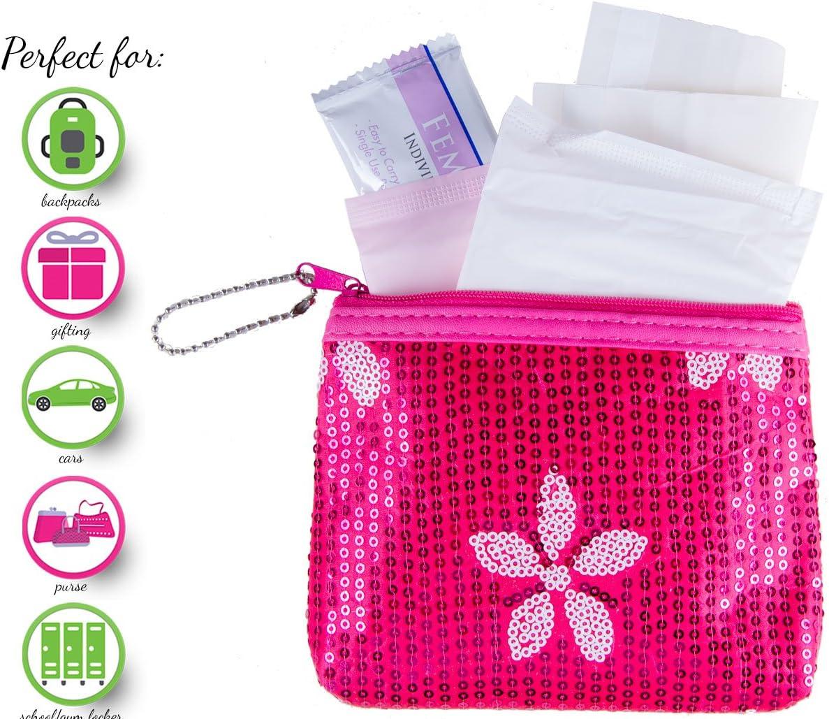 Kit de menstruación – Kit de primer período para llevar (kit de iniciación de periodo con almohadillas naturales) 1 , Rosado, 1
