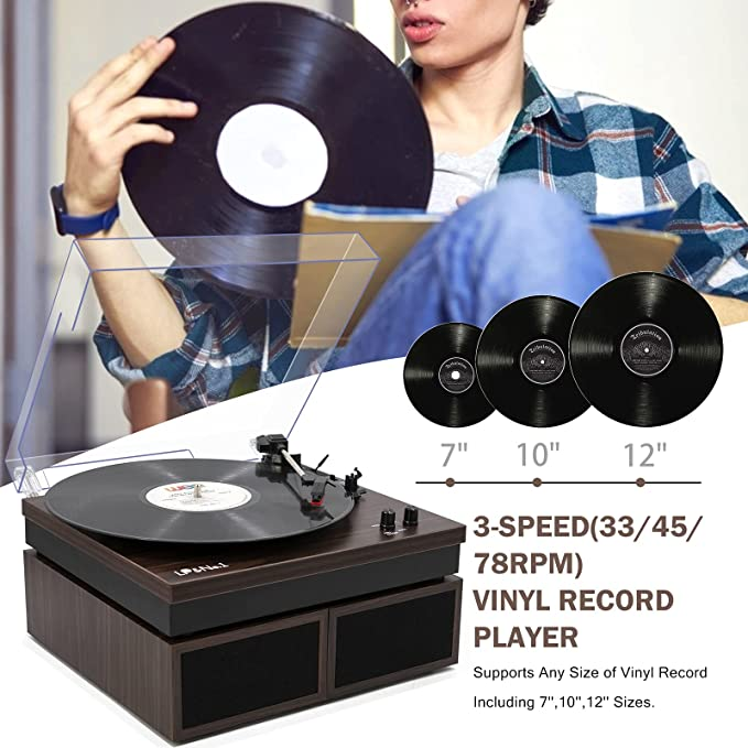 Electronics Turntables Walnut 3-Speed Vinyl Record Player with ...