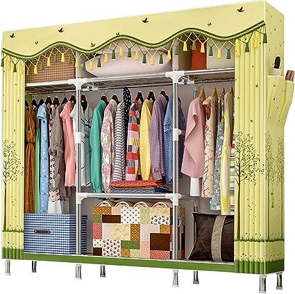 ZZBIQS Armario de tela extragrande con compartimentos y 2 bolsillos laterales, armario de camping con barra para ropa, vestidor, dormitorio (bosque ...