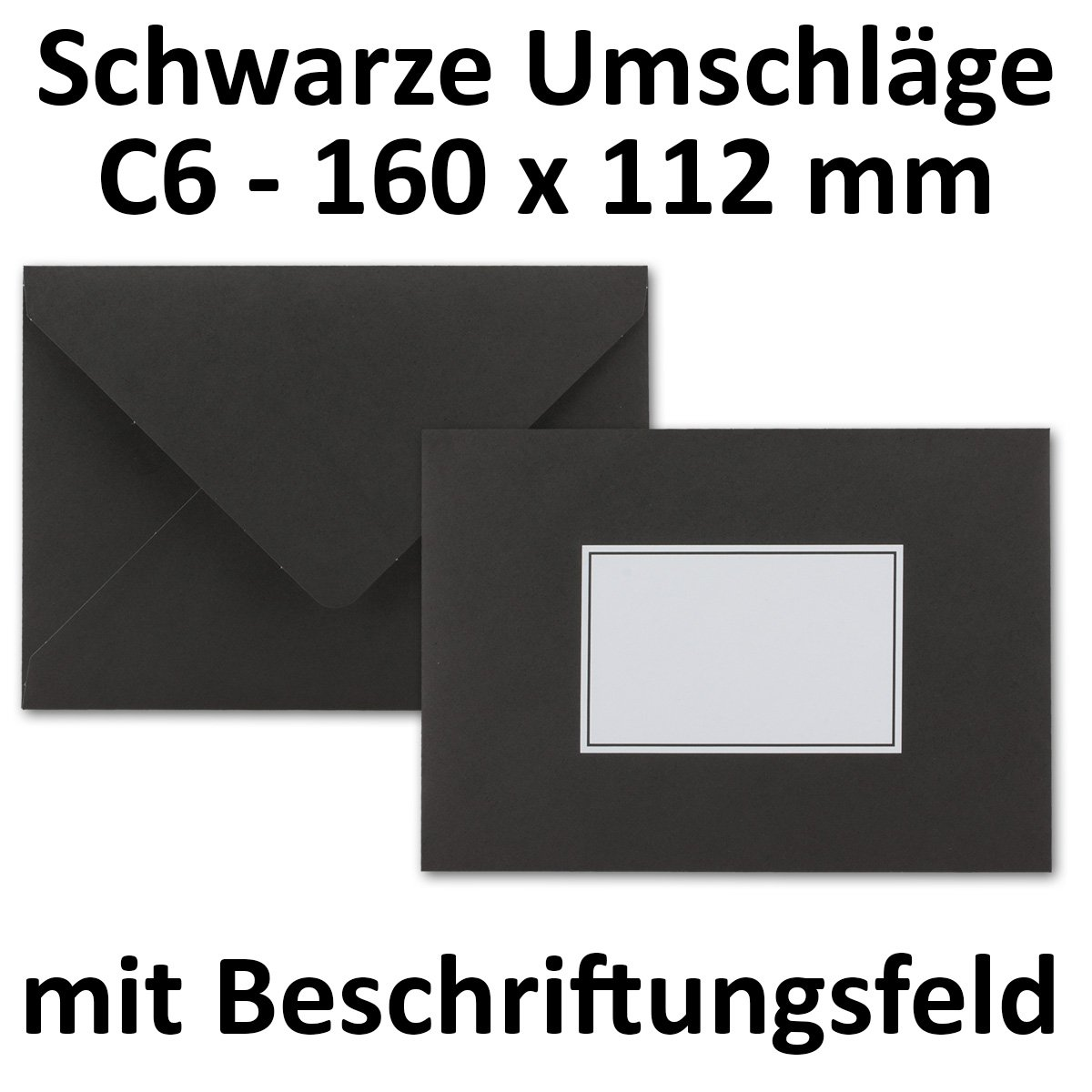 50X NERO speciali Buste formato C6| con iscrizione | 160X 112mm | nassklebung | 80G/M² | Il Dolore Buste di buste di carta Buste di buste NEUSER