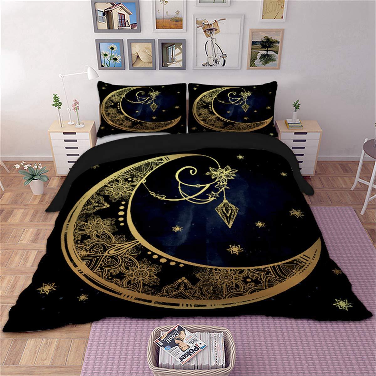 Mandala Bedding Set 3D Golden Moon Printed Duvet Cover for Kids Teens Adults Soft Microfiber 3 Pieces Comforter Duvet Cover with Zipper Closure and Corner Ties (Navy Blue, Queen)