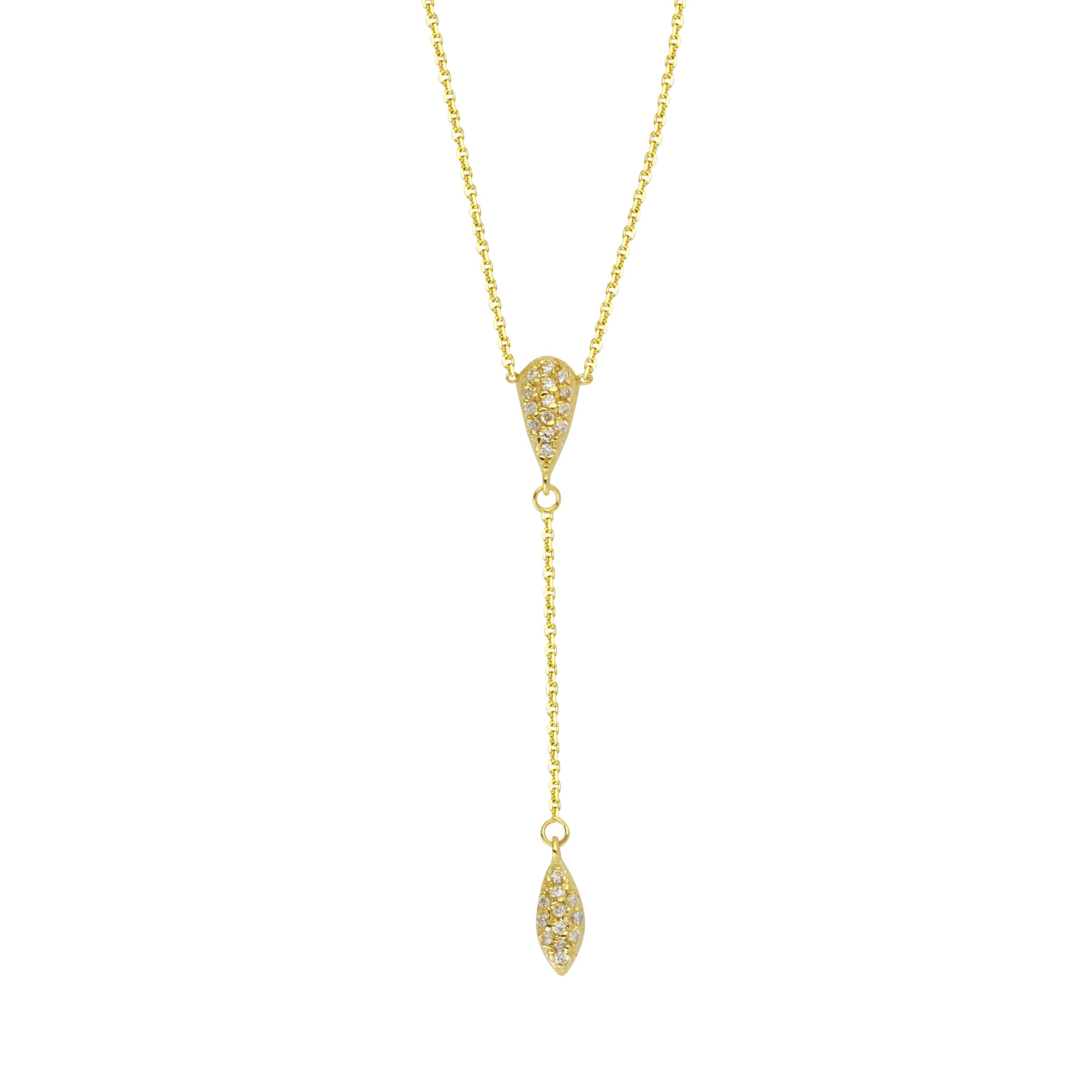 14k Yellow Gold Diamond Accented Y-shape Lariat Style Necklace with Drop