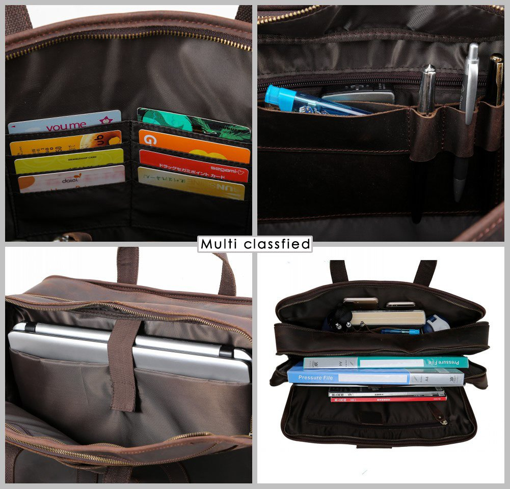 """Tiding Cowhide Leather Vintage Laptop Bag – Durable, Spacious, Stylish Carry On Business Bag – Fits 17.3"""" Laptop – Perfect for The Busy Businessman by Tiding (Image #8)"""