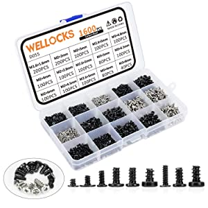 WELLOCKS Mini Screw 1600 PCS M1.6 M2 M2.6 M3 High Precision Self-Tapping Screws Micro Screws, Tiny Electronic Screws Assortment Kit Carbon Steel for Mouse and Keyboard Repair (D055)