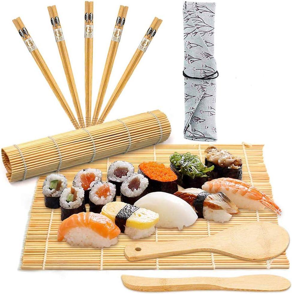 BESTZY 10pcs Kit para Hacer Sushi de Bambú Preparar Sushi Fácil Y Profesional con Este Juego