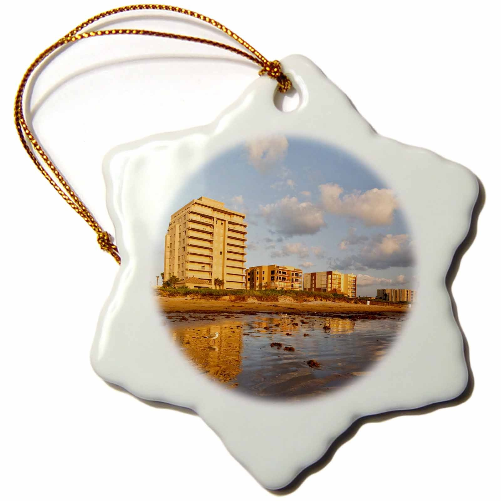 3dRose Resort hotels, beach, South Padre Island, Texas - US44 LDI0335 - Larry Ditto - Snowflake Ornament, Porcelain, 3-inch (orn_94475_1)
