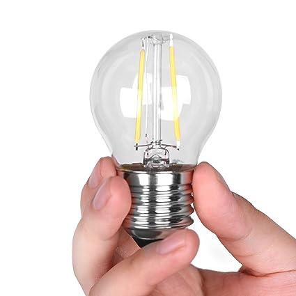 6 Pack DC 12V Retro Industrial Cool White 6000k 2 Watt LED Edison Filament G45 Light Bulb E26 E27 Medium Base Lamp Low Voltage String Pendant Outdoor ...