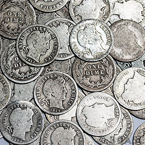 1892-1916 90% Silver Barber Dimes 50-Coin Roll $5 Face Value Good/Better