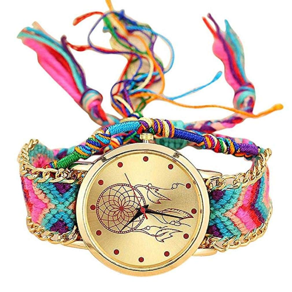 Fashion Clearance! Noopvan Women Girl vansvar Watch,Native Handmade Ladies Vintage Quartz Watch Dreamcatcher Friendship Watches (A)