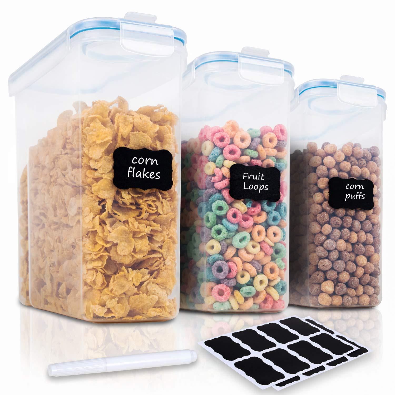 Cereal Container Storage Set - 3 Piece Airtight Large Cereal Storage Containers, BPA Free Dispenser Cereal Storage Container Set with Free Labels & Pen (135.2oz) - FOOYOO