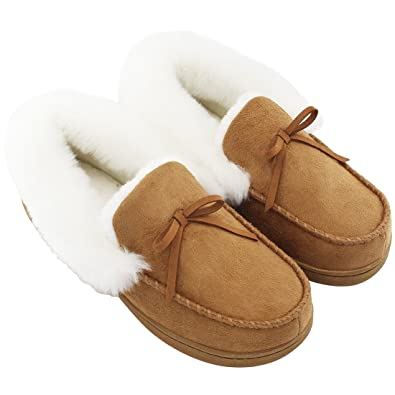 9e83d9bc96 HomeIdeas Women's Faux Fur Lined Suede House Slippers, Winter Indoor  Outdoor Moccasins Brown size 6US