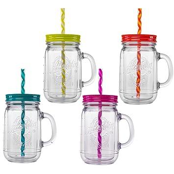 aladdin 4 piece 20oz plastic mason jar set handled lidded tumbler drinking cup mug glasses u0026 - Mason Jar Glasses