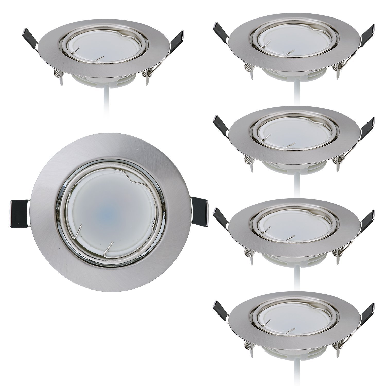 HCFEI 6er set Dimmbar LED Einbaustrahler 230V Flach nur 25mm 120°Abstrahlwinkel rund inkl. 6 x 5W LED Modul Warmweiss 3000K, 430Lumen, Ra  80, Dimmbar, Loch 70mm, Schwenkbar
