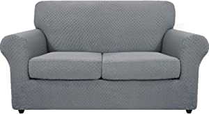 MAXIJIN 3 Piece Newest Jacquard Couch Covers for 2 Cushion Couch Stretch Non Slip Love Seat Couch Cover for Dogs Pet Friendly Elastic Furniture Protector Loveseat Slipcovers (Loveseat, Light Gray)