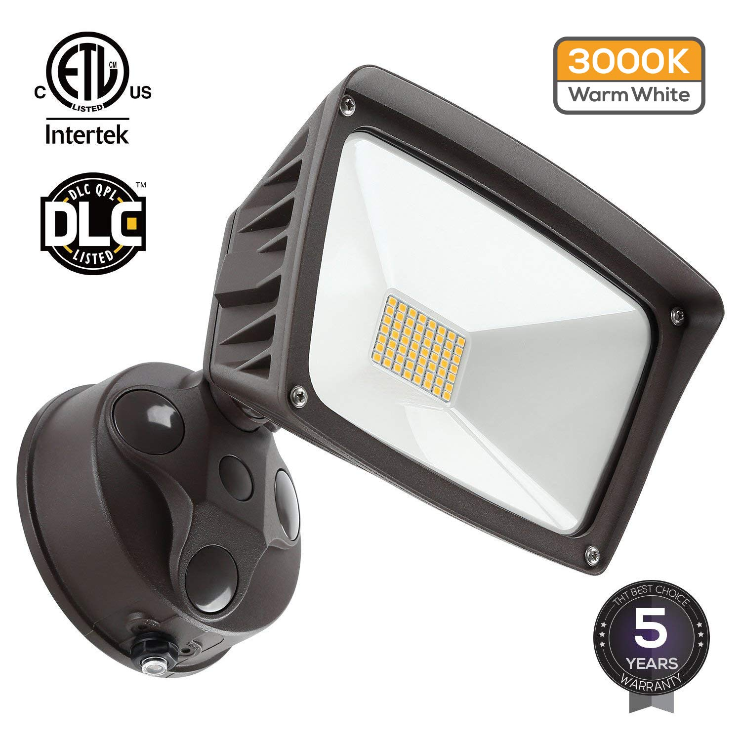 LED Outdoor Flood Light,Dusk-to-Dawn (Photocell Included), 3400lm Ultra-Bright Waterproof Security Floodlight, 28W (220W Equiv.), DLC and ETL-Listed Exterior Lighting for Yard Porch, 3000K Warm White by LEONLITE