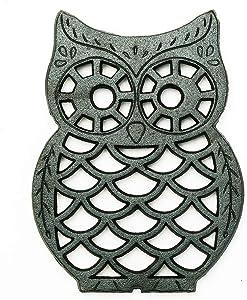 Sungmor Heavy Duty Cast Iron Trivet - Rustproof Lovely Owl Shaped Black Trivet - Decorative Large Metal Trivet Stands Holder for Hot Pans Pots Dishes or Teapot - Great Home Kitchen Dinning Table Decor