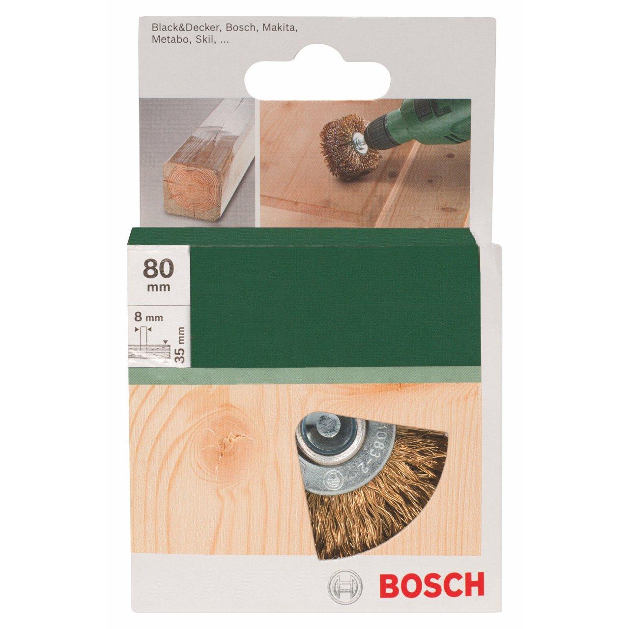 Bosch 2609256541 Brosse de c/érusage pour Perceuse Fils ondul/és laitonn/és 8 x 80 mm