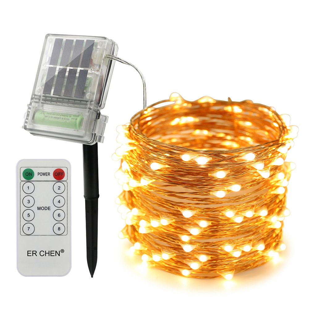 66FT 200 LEDs Copper Wire 8 Modes Decorative Fairy Lights for Outdoor Christmas Garden Patio Yard Green ErChen Solar Powered Led String Lights with Backup Battery Power and Remote Control